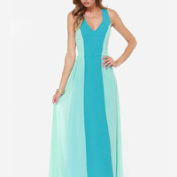 Light Green Blue Chiffon Sleeveless V-neck Sheath Maxi Dress