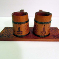 1980 Moscow Russia Olympic Beer Mugs Stiens and Tray- Cold War Boycotted Olympics Summer Games Folk Art Soviet
