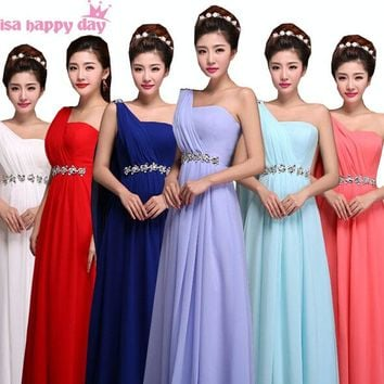 royal blue burgundy one shoulder ladies bridesmaid dress plus size chiffon gown bride maid yellow dresses for weddings B1999