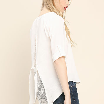 Back Lace Accented Blouse