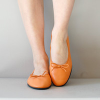 ballet flats / leather flats / Tangerine Skimmers by DearGolden