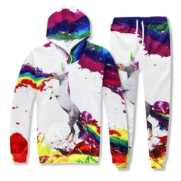 Hot 2 Piece Set Men And Women Casual Tracksuits 3D Print Coloured Unicorn Fashion Hoodies Hooded+Pants Sweatshirt Track Suit