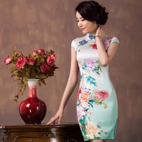 China Peony Women Silk Dress New Design Improved Vintage 100% Silk Cheongsam Dress Hot Sale National Trend Ladies Short Dress