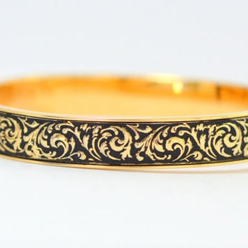 Vintage Mid Century 14K Gold Overlay Krementz Bangle Bracelet with Repousse and Black Enamel Finish
