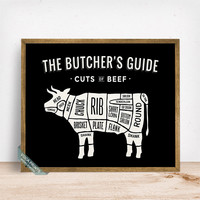 Beef Butchers Guide Print, Cuts Of Beef, Beef Poster, Kitchen Decor, Beef Cuts, Butcher Print, Wall Decor, Fathers Day Gift