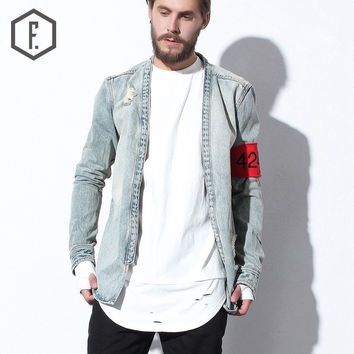 Winter Men's Fashion Ripped Holes Denim Jacket [8822208387]
