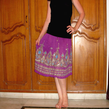 Purple Gypsy Skirt: Indian Skirt, Flowy Knee Length Silver Sequin Midi Skirt or Floral Cover Up