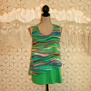 Sleeveless Summer Tops Tank Blouse Green Wave Abstract Print Dressy Blouses Green Blouse Green Top Layered Womens Clothing Blouses Medium M