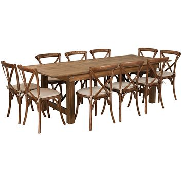 HERCULES Series 8' x 40'' Folding Farm Table Set with 10 Cross Back Chairs and Cushions