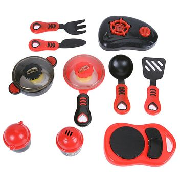 Plastic Kitchen Ware Cooking Pretend Play Kitchen Toys Cooking Stove Toy Cookware Set Toys for Girls
