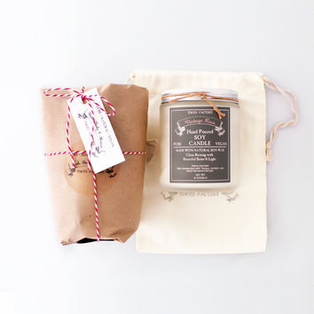 Candle Gift 8 oz Soy Candle in a glass jar in a cotton muslin bag - with pure natural soy wax - Gift Ideas - Gift Wrapped - Candle Gift