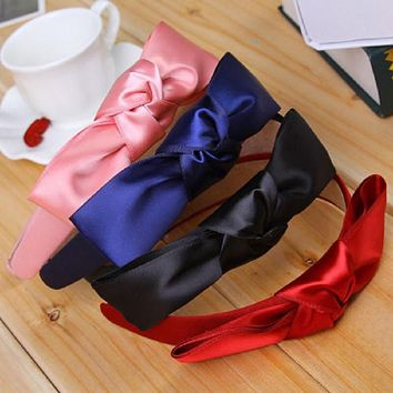 1 pcs Fashion Korean Women Lady Girls Bowknot Ribbon Bow Knot Wide Bow Headband Clip Hairband Hair Band Accessories 8 colors