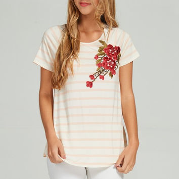 Stroll in Rome - Striped Rose Embroidered Top - Blush