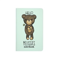 Cute Brown Bear Holding a Yellow Flower Journal