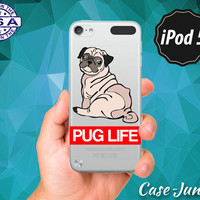 Pug Life Quote Red Thug Life Funny Dog Puppy Doggy Cartoon Rubber Transparent Clear Case For iPod Touch 5th Generation or iPod 6th Gen