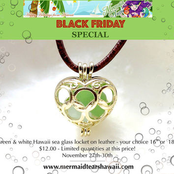 BLACK FRIDAY DEAL Hawaiian Sea Glass Locket - Sea Glass Jewelry from Hawaii - Mermaid Inspired Necklace - Hawaiian Jewelry Seaglass Jewelry