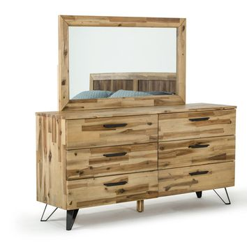 Modrest Sala Modern Light Wood Dresser & Mirror Set