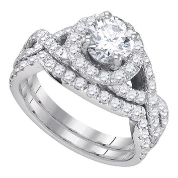 14kt White Gold Womens Round Diamond Halo Bridal Wedding Engagement Ring Band Set 2-1/5 Cttw
