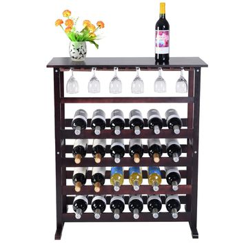 Burgundy Wooden Wine Glass Holder Bottle Rack for 24 Bottles