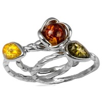 Sterling Silver Amber Flowers Wire Ring Set of Three