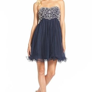 Junior Women's Blondie Nites Embellished Bodice Empire Dress,