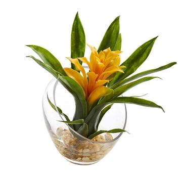 Silk Flowers -8 Inch Yellow Tropical Bromeliad In Angled Vase Artificial Plant