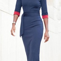 Fashion Dark Blue Half Sleeve Women's Sheath Dress
