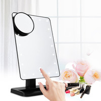 20 LEDs Lighted Mirror Tabletop Countertop Cosmetic Mirror 10X Magnifier Makeup Mirror Adjustable Touch Portable Table