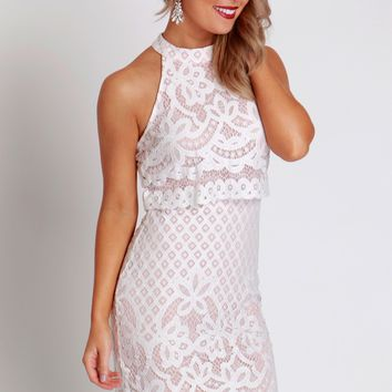 Layered Lace Halter Dress