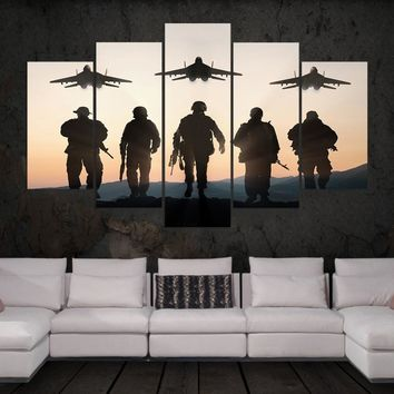 HD Print 5 panels abstract flat soldiers Painting on canvas wall art picture modern home decor print canvas painting /PT0732