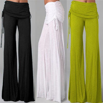 Women Casual Long High Waist Stretch  Pants Dance Pants  Straight Leg Flare Pants Elegant Palazzo