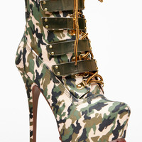 Alba Gold Plated Faux Glam Camo Lace Up Booties