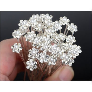 20Pcs Wedding Bridal Pearl Flower Rhinestone Hair Pins Clips Bridesmaid [7983228359]