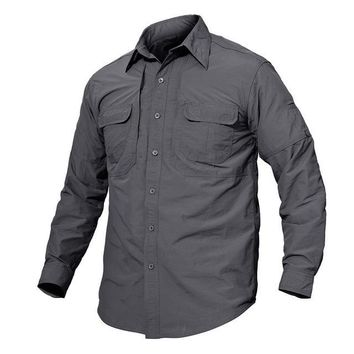 Men's Brand Tactical Quick Drying Shirt Breathable Camp Casual Long Sleeve Shirt Men Combat Military Shirts