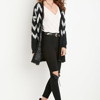 Chevron-Patterned Fuzzy Cardigan