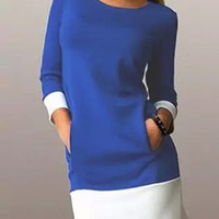 Blue Contrast 3/4 Sleeve Shift Dress