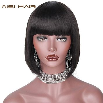 AISI HAIR 12'' Black Bob Wig Short Synthetic Wigs For  Women Black Heat Resistant  Hairpieces