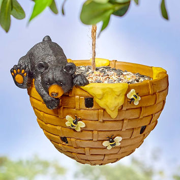Bird Feeder Seeder Ceramic Hanging Frog Bear Squirrel Garden Lawn Decor