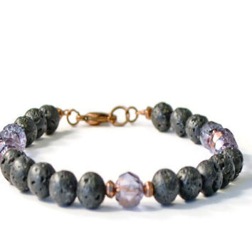 Lava Stone & Amethyst Firepolish Aromatherapy Bracelet, Essential Oil Diffusing Jewelry