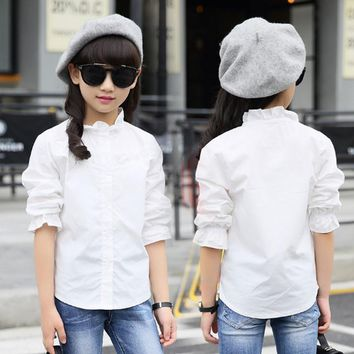 White Blouses for Girls In School 2017 Fashion Long Sleeve Mandarin Collar Solid Girls Shirts Kids Tops Children Clothes Bs009