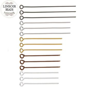 LINSOIR 200pcs/lot 20 30 40 50 mm Eye Pins Head Pins Findings Gold/Silver Color Connectors For Jewelry Making Diy Dia 0.7mm F117