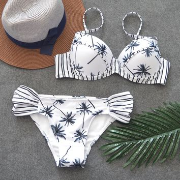 Sexy Coconut Printing Bikini Low Waist Women Bathing Suits Simple Black Stripe Halter Top Push up Swimsuits with Pad