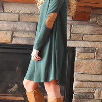 Trapeze Dress with Elbow Patches - Hunter Green
