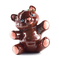 Chocolate Brown Teddy Bear Ceramic Figurine w Roses Kitsch Kawaii / Vintage 70s