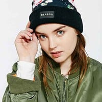 Reason Floral Print Pom Beanie- Black Multi One