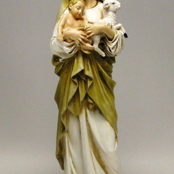 6 Inch Stone Resin Virgin Mary Madonna Lamb Figure Statue Home