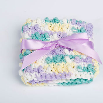 Washcloth, Crochet Cotton Spa Scrubbie- varigated pastels