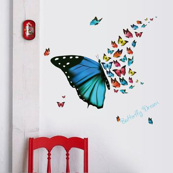 Beautiful colorful butterfly Wall Sticker animal DIY Vinyl Home Decor Art Decals 3D Wallpaper decoration stickers on the wall