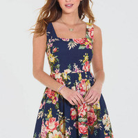 Allover Antique Floral Printed Dress