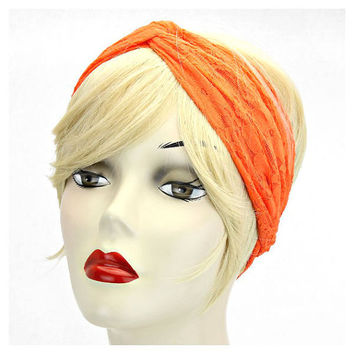 Orange Boho Floral Lace Wide Stretch Turban Headband
